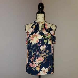 New York & company navy floral blouse